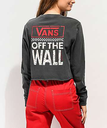 Vans Checkerboard Black Crop Long Sleeve T-Shirt