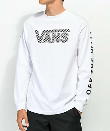 23ee416fa2b Vans Checkerboard Drop V White Long Sleeve T-Shirt