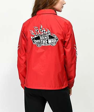 Vans Checkerboard Flame chaqueta entrenador en rojo
