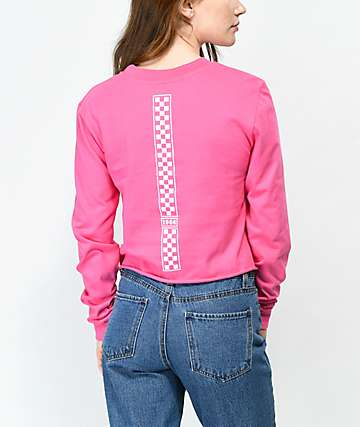 Vans Checkerboard Hot Pink Long Sleeve Crop T-Shirt