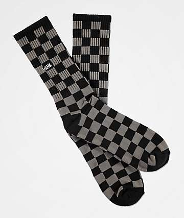 Vans Checkerboard II Black & Charcoal Crew Socks