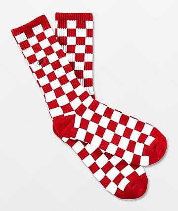 Vans Checkerboard II Red & White Crew Socks
