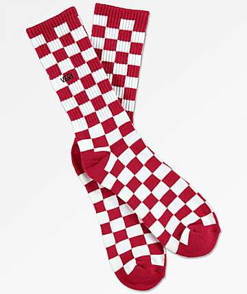 Vans Checkerboard II Red & White Crew Socks