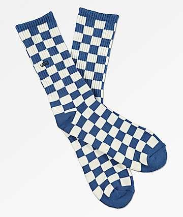 Vans Checkerboard II calcetines de cuadros azules y blancos