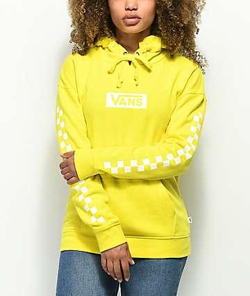 Vans Checkerboard Logo sudadera amarilla con capucha