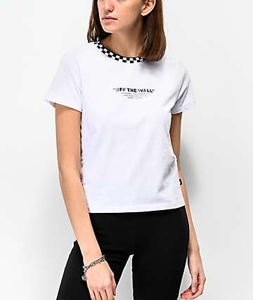 f078ce4d9b Vans Checkerboard Neck White Crop T-Shirt