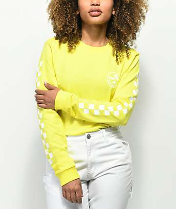 Vans Checkerboard Palm Yellow Long Sleeve T-Shirt