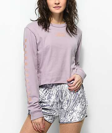 Vans Checkerboard Sea Fog Long Sleeve Crop T-Shirt