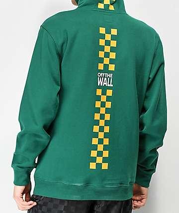 0b8b42fb1b1 Vans Checkerboard Stripe Green   Gold Hoodie