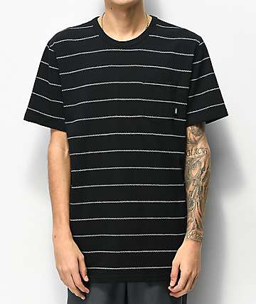 5686ced08 Vans Checkerboard Striped Black & White Pocket T-Shirt
