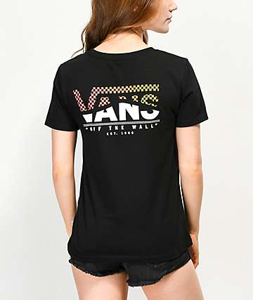 Vans Checkerboard Wave Logo Black T-Shirt