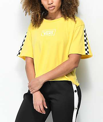 e1e78dd316 Vans Checkerboard Yellow Crop T-Shirt