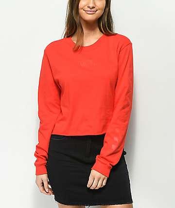 Vans Checkerboard camiseta corta de manga larga en rojo
