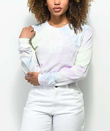 Vans Checkerboard camiseta de manga larga con efecto tie dye