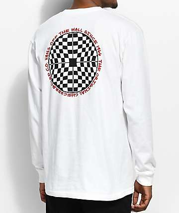 Vans Checkered Long Sleeve White T-Shirt