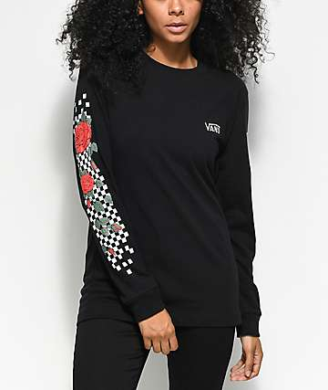 Vans Checkered Rose camiseta negra de manga larga
