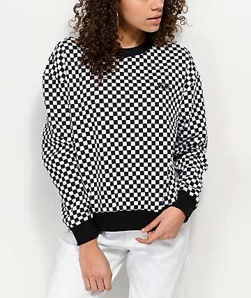 Vans Checkers sudadera con cuello redondo en blanco y negro