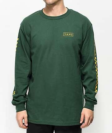 Vans Checkmate camiseta de manga larga amarilla y verde