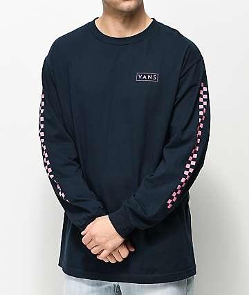 Vans Checkmate camiseta de manga larga azul marino y rosa