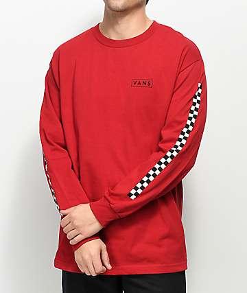 Vans Checkmate camiseta de manga larga roja y negra
