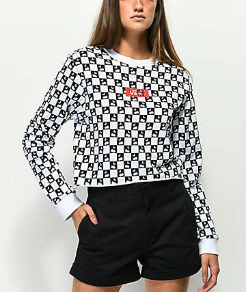 Vans Cherry Check Black & White Long Sleeve Crop T-Shirt