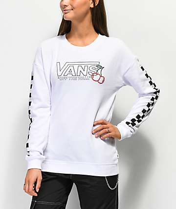 Vans Cherry Crew Checkered White Crew Neck Sweatshirt