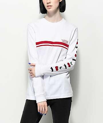 Vans Cherry camiseta de manga larga blanca y roja