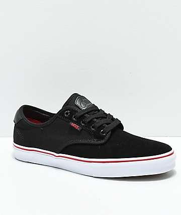 Vans Chima Pro zapatos de skate en negro, blanco y rojo de chile