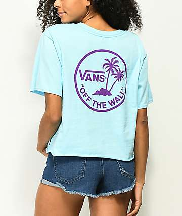 Vans Circle Palm Blue Crop T-Shirt