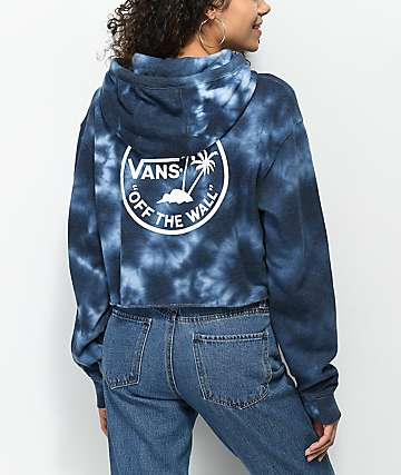 Vans Circle Palm sudadera corta con capucha con efecto tie dye en azul