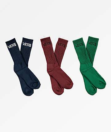 Vans Classic 3 Pack Green, Blue & Burgundy Crew Socks