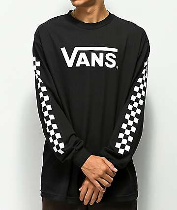 Vans Classic Checkerboard Black Long Sleeve T-Shirt