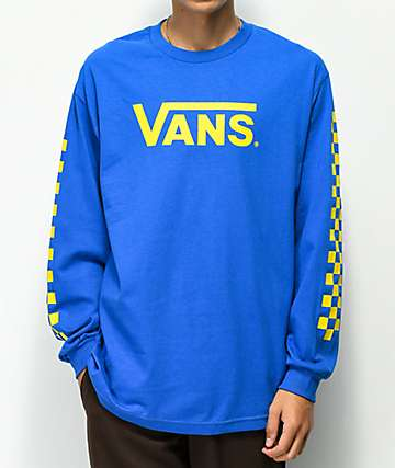 74c9fe0e1f Vans Classic Checkerboard Blue   Yellow Long Sleeve T-Shirt