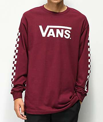 5961596352e431 Vans Classic Checkerboard Burgundy Long Sleeve T-Shirt