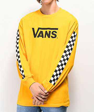 a2902ed014 Vans Classic Checkered Gold Long Sleeve T-Shirt