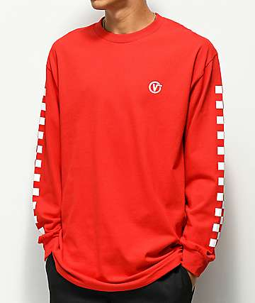 Vans Classic Circle V camiseta roja de manga larga