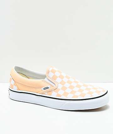 Vans Classic Slip-On Apricot & White Checkerboard Shoes