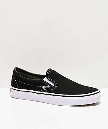 Vans Classic Slip On Black & White Shoes