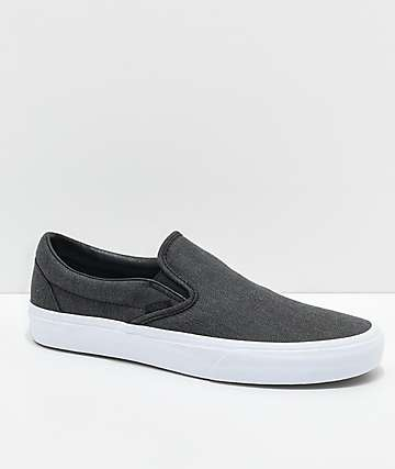 Vans Classic Slip On Black Herringbone & True White Shoes