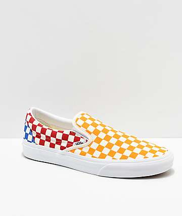 474ff0a8253f14 Vans Classic Slip On Checkerboard Red
