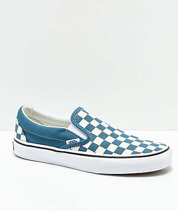 Vans Classic Slip-On Corsair & White Checkerboard Shoes