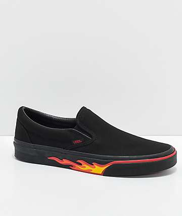 Vans Classic Slip On Flame Black & Black Shoes