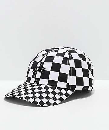 73249aadbba13 Vans Courtside Checkerboard Black   White Strapback Hat