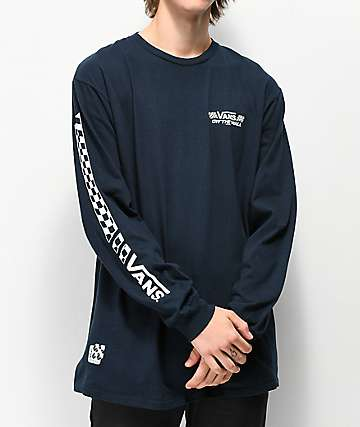Vans Crossed Sticks Navy & White Long Sleeve