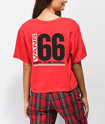 41d0de1f33b41 Vans Drop Crop 66 Racing Red Crop T-Shirt