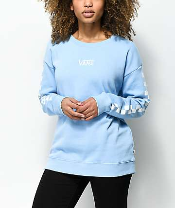 Vans Drop V Checker Light Blue Crew Neck Sweatshirt