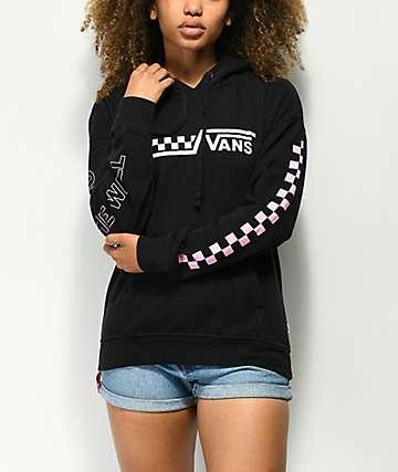 Vans Drop V Checkerboard sudadera con capucha negra y rosa