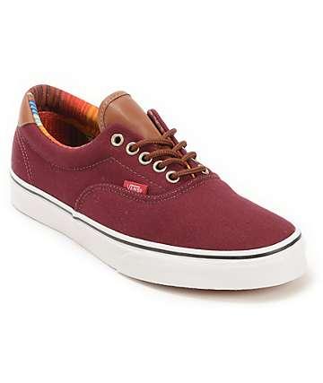 Vans Era 59 zapatos de skate en color granate y rayado (hombre)