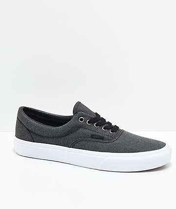 Vans Era Black Herringbone & True White Shoes