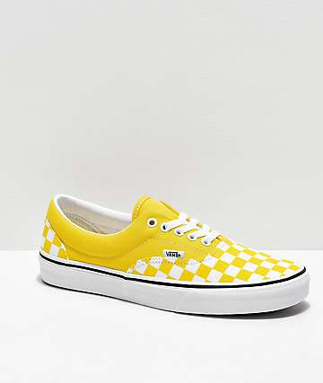 Vans Era Checkerboard Vibrant Yellow & White Skate Shoes